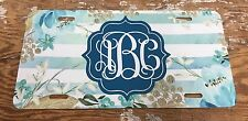 Monogram License Plate Blue Floral Stripes Personalized Car Tag New