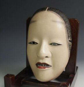 High quality SIGNED Noh Mask Wooden ZOH-ONNA (能面 増女) Japanese Vintage Koomote