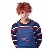 Adult Mens Chucky Killer Evil Doll Gaara Karma Halloween Cosplay Costume Red Wig