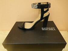 BADGLEY MISCHKA GLOW BLACK LEATHER SANDALS SIZE 7