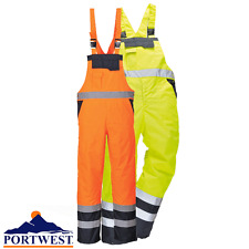 Portwest Hi Vis Visibility Safety Bib and Brace Waterproof Trousers Padded S488 Orange/navy 3xl
