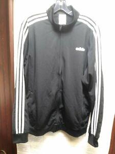 adidas Essentials 3-Stripe Track Jacket for Men, Size Large - Black/White