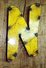 "Reclaimed Metal Industrial LETTER N 1"" thick 3D TIN Sign COLORED 8 1/2 Inch Tall"