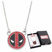 Deadpool Logo * Pendant Necklace * Stainless Steel with Gems New Marvel Comics