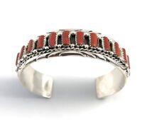 Native American Sterling Silver Navajo Handmade Natural Coral Cuff Bracelet