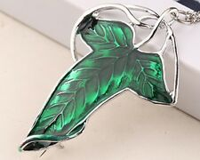 Lord of the Rings Leaf Pendant or Brooch. Frodo Elf Green Enamel Necklace Leaf