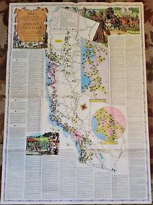 """HUGE 46""""VTG Color Map Spanish California Missions,Presidios,Pueblos,Ranchos 1956"""