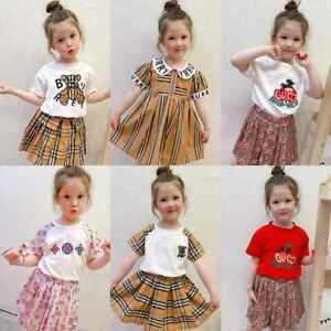 Kids Girls Plaid Bear T-shirt+Skirt Long Sleeve Dress Summer 2PCS Set