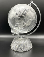 "Exceptional Waterford Crystal Glass World Globe & Base 11.5"" Retired"