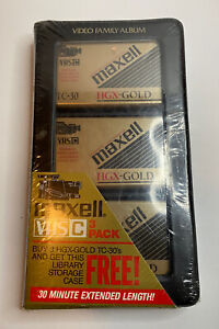 Maxell HGX-GOLD VHS-C 3 pack Grade TC-30 Camcorder Video Tapes