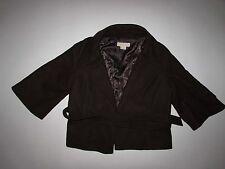Michael Kors Womens Belted Coat Medium 3/4 Sleeves Brown Wool Blend Short Length