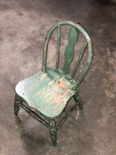 Antique Vintage Oak Childrens Chair Bent Oak Solid Wood Chippy Paint Farmhouse