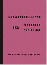 IFA BK 350 BK350 Ersatzteilliste Ersatzteilkatalog Teilekatalog MZ Parts Catalog