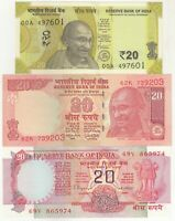India 20 Rupees Set of 3 Different Issues Banknote in UNC