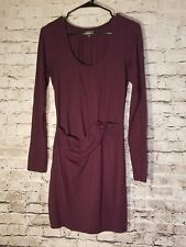 Express Womens Dress Medium Eggplant Purple Faux Wrap Long sleeve Stretchy t70