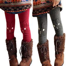 Kids Girls Leggings Trousers Baby Fleece Stretch Rabit Print Winter Warm Pants