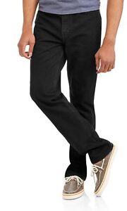 Faded Glory Men's Regular Fit Jeans 42X32 Black Classic Fit Straight Leg NEW
