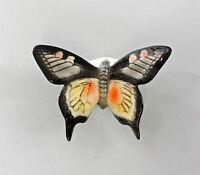 9997532 Ens Porcelain Figurine Wall Butterfly Swallowtail Graugelb 8x6cm
