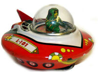 FLYING SAUCER Wind up Friction UFO Space Ship vtg look Tin Sparking BUMP-N-GO