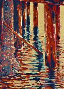 Michael POWELL Structure in Amber - Original Signed Large Screenprint, Seascape