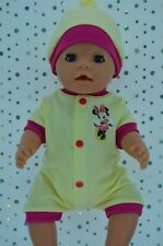 "Play n Wear Doll Clothes To Fit 17"" Baby Born LEMON/HOT PINK ROMPER~HAT"