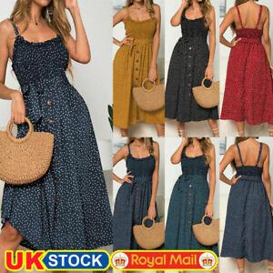 Women's Strappy Polka Dot Midi Dress Ladies Summer Beach Button Sundress Holiday