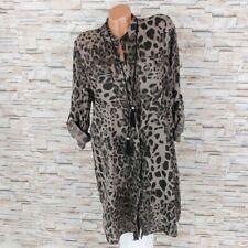 MADE IN ITALY Blusenkleid Tunika Kleid Leoparden Animal Print schlamm 38 40 42