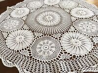 Vintage Hand Crochet Large FLORAL Circular Table Centre Cloth 31 Inches Diameter