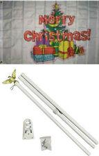 3x5 Merry Christmas Tree Gifts Presents Flag White Pole Kit Set 3'x5'