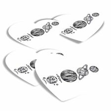 4x Heart Stickers - Planets Space Saturn Moon Earth NASA  #8143