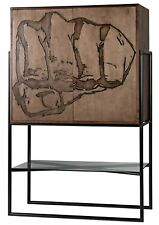 """76.5"""" T Fist Hutch Forged Steel Base Handcrafted Walnut Birch Woods Dual Doors"""