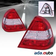 1994-2000 Mercedes Benz W202 C-Class Red Clear Tail Lights Replacement Lamps Set