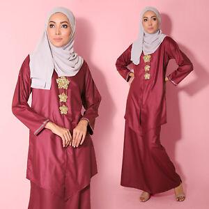 Red Velvet Long sleeve Kebaya Diamond Cotton Plus Size Women Muslimah Dress