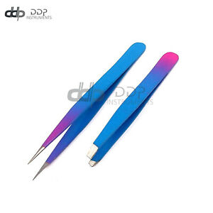 Slant & Pointed Tweezers Set Eyebrow Ingrown Facial & Nose Hair(SkyBlue & Pink)