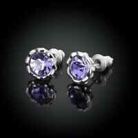 February Birthstone Simulated Amethyst Earrings w/ Crystals
