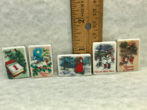 5 Tiny French Christmas Postcards Holiday Art French Feves Dollhouse Miniatures