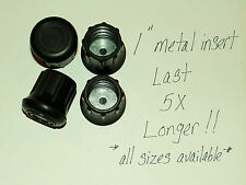 """(4) 1"""" HEAVY RUBBER CANE TIPS FOR CRUTCHES, WALKERS, METAL INSERT LAST 5X LONGER"""