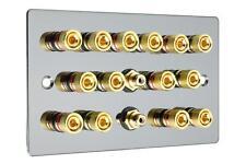 7.2 Flat Plate Polished Black Nickel/Gun Metal Speaker Audio Wall Face plate