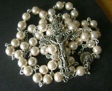 *NICE 8MM MOTHER-OF-PEARL BEADS ROSARY & OLD SILVER CROSS CATHOLIC NECKLACE