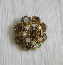 Lovely vintage brooch with 2 bi colour stones - smokey quartz and crystal colour