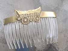 "Vintage Hair Comb Covered Wagon Anitqued Brass Clear 2 3/4"" Comb Made USA 008"