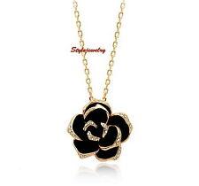 Rose Gold Plated Crystal Black Enamel Women's Rose Flower Necklace N51