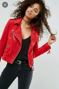 Red Suede ASOS Leather Biker Jacket sz10 New without tag. RRP £90