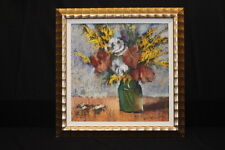 Striking Framed Pastel on Canvas Floral Still Life by Helen Zarin