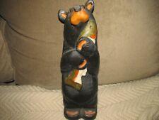 "New listing Big Sky Carvers Bear Pine Wood Carved Black Bear Holding Fish Jeff Fleming 12"""