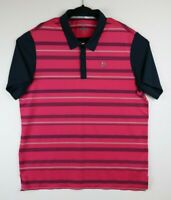 Adidas Disney Golf Polo Mens Size XL Pink White & Navy Blue Stripes
