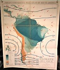 Original 1921 Philips' Comparative WALL Atlas ~ SOUTH AMERICA CLIMATE SUMMER Map