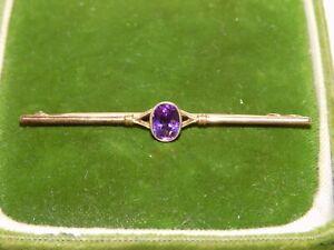 Vintage Purple Amethyst Rose Gold Bar Pin Brooch 11b 138
