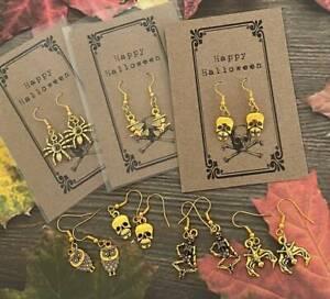 Halloween Fancy Dress Ghost Spiders Web Skull Pumpkin Halloween Earrings & Card