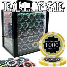 New 1000 Eclipse 14g Clay Poker Chips Set with Acrylic Case - Pick Chips!